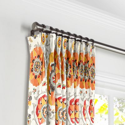Orange Suzani Pleated Curtains