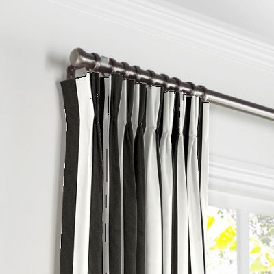 Black & White Awning Stripe Pleated Curtains