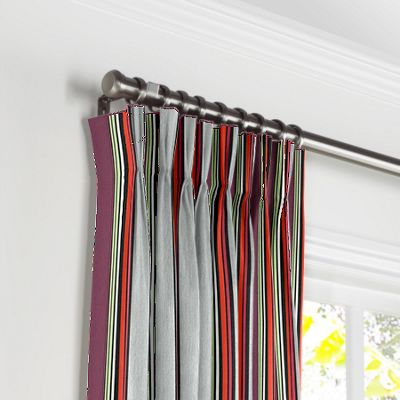Purple Multicolor Striped Pleated Curtains