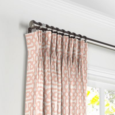 Pale Coral Trellis Pleated Curtains