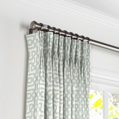 Pale Seafoam Trellis Pleated Curtains