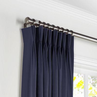 Navy Blue Sunbrella® Canvas Pleated Curtains
