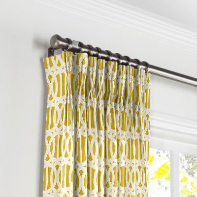 Bright Yellow Trellis Pleated Curtains