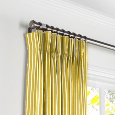 Bright Yellow Thin Stripe Pleated Curtains