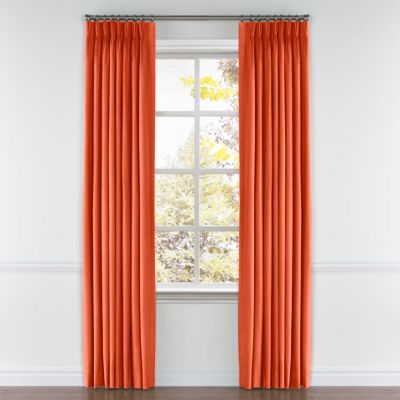 Solid Coral Linen Pinch Pleat Curtain