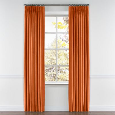 Burnt Orange Linen Pinch Pleat Curtain