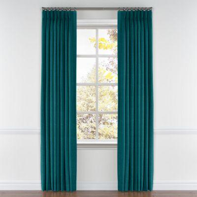 Dark Teal Linen Pinch Pleat Curtain