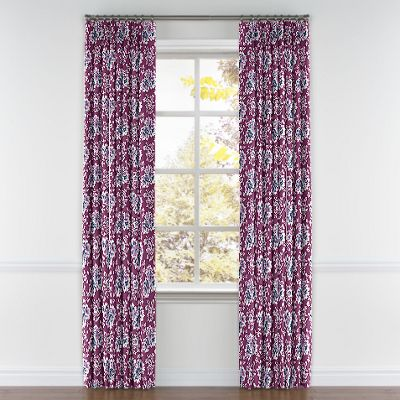 Purple & Teal Leaf Pleated Curtains