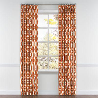 Orange Trellis Pinch Pleat Curtain