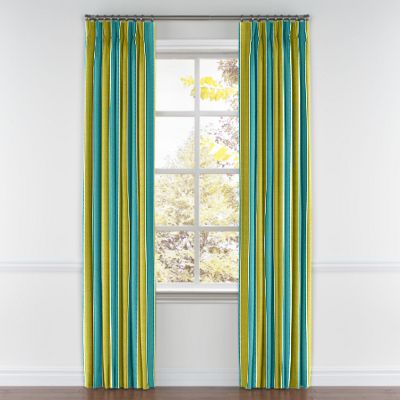 Lime & Teal Stripe Pinch Pleat Curtain