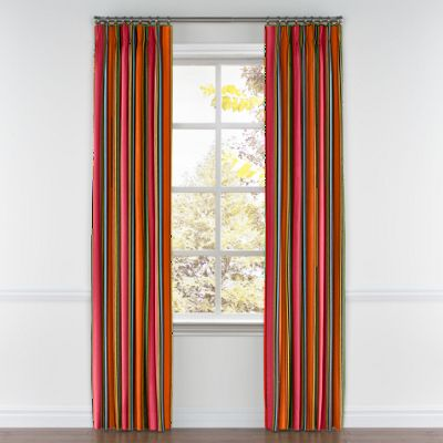 Pink Multicolor Stripe  Pleated Curtains