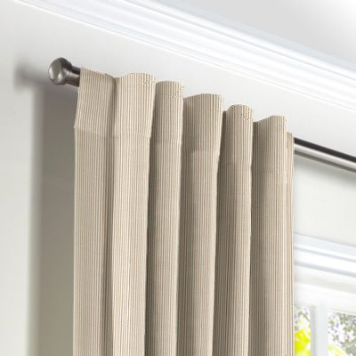 Beige Pinstripe Back Tab Curtains
