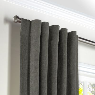 Charcoal Gray Linen Back Tab Curtains