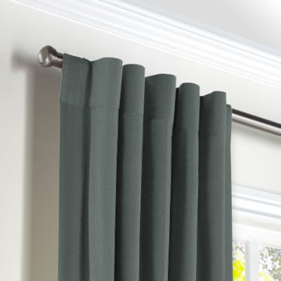 Charcoal Slubby Linen Back Tab Curtains