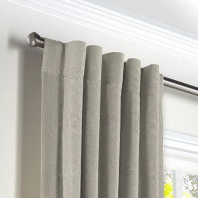 Beige Slubby Linen Back Tab Curtains