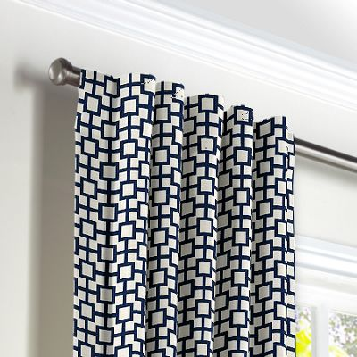 Navy Blue Square Trellis Back Tab Curtains