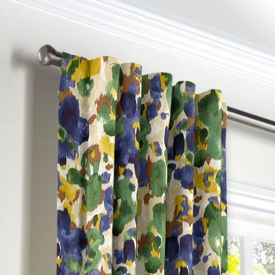 Green & Blue Watercolor Back Tab Curtains