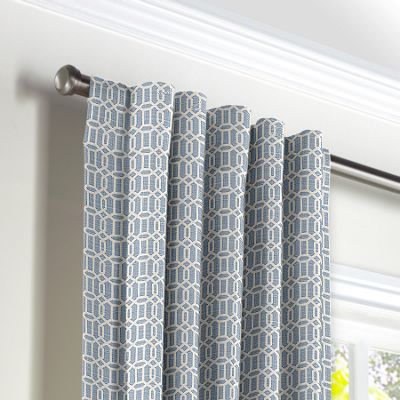 Sky Blue Lattice Back Tab Curtains