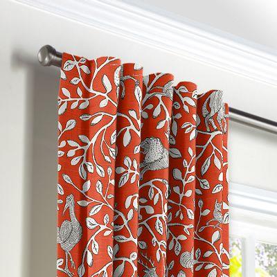 Red Animal Motif Back Tab Curtains