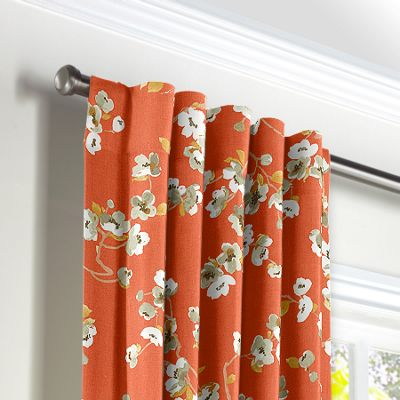 Orange Cherry Blossom Back Tab Curtains