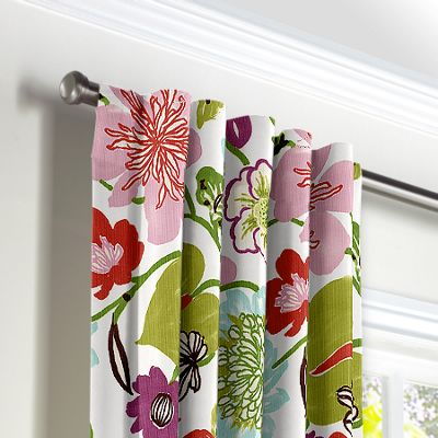 Pink & Purple Floral Back Tab Curtains