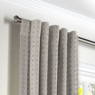 Silver Studded Taupe Back Tab Curtains