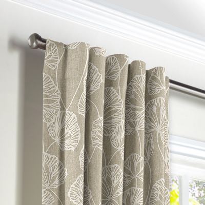 Beige Fan Leaf Back Tab Curtains