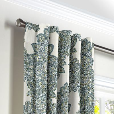 Paisley-Style Aqua Damask Back Tab Curtains