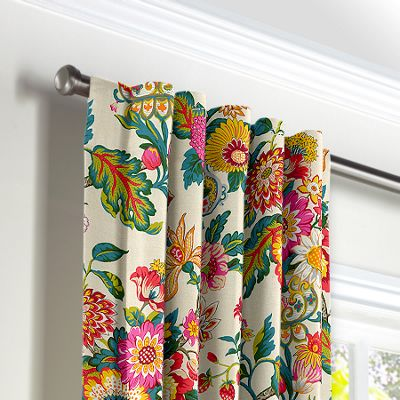 Candy-Colored Chinoiserie Back Tab Curtains