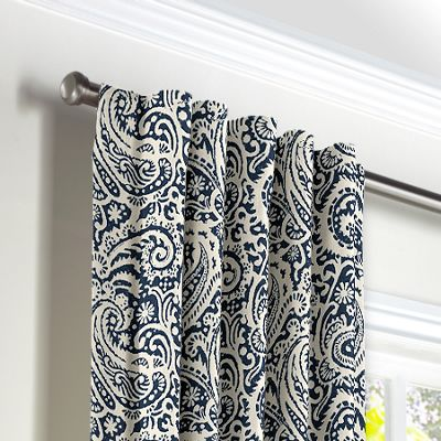 Navy Blue Paisley Back Tab Curtains