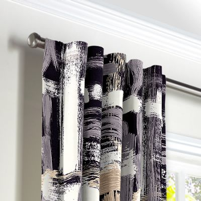 Black & White Brushstrokes Back Tab Curtains