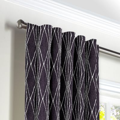 Black & White Diamond Back Tab Curtains