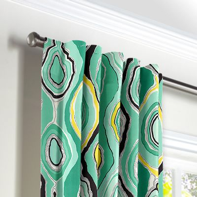 Lime Green & Yellow Abstract Back Tab Curtains
