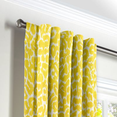 Yellow Leopard Print Back Tab Curtains