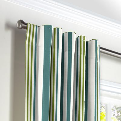 White, Teal & Green Stripe Back Tab Curtains