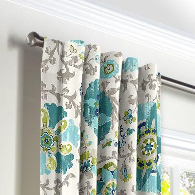 Aqua Blue Suzani Back Tab Curtains