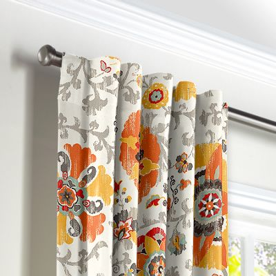 Orange Suzani Back Tab Curtains