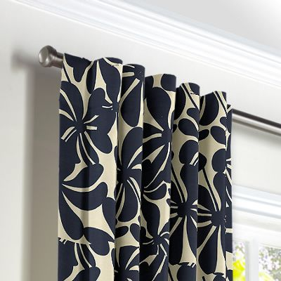 Navy Graphic Floral Back Tab Curtains