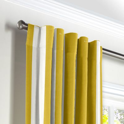 Yellow Awning Stripe Back Tab Curtains