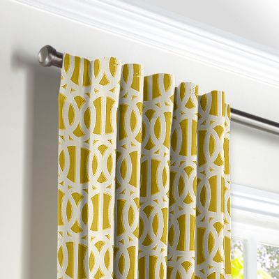 Bright Yellow Trellis Back Tab Curtains