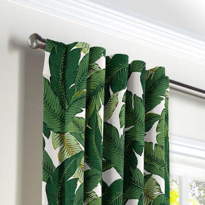 Green Banana Leaf Back Tab Curtains