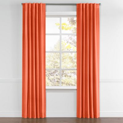Solid Coral Linen Back Tab Curtain