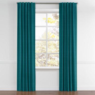 Dark Teal Linen Back Tab Curtain