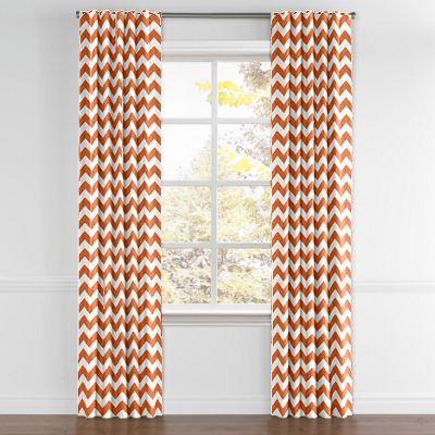 White & Orange Chevron Back Tab Curtains