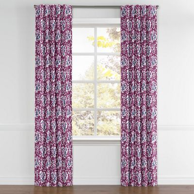 Purple & Teal Leaf Back Tab Curtains