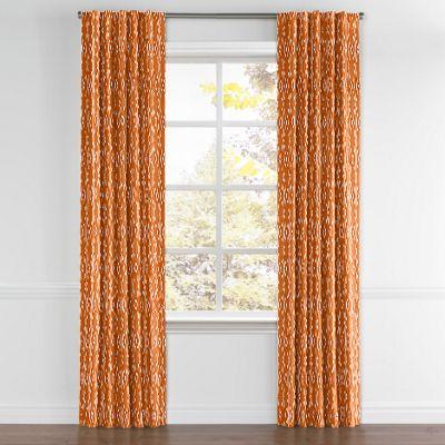 Orange and White Diamond Back Tab Curtain