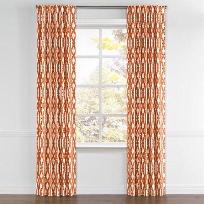 Orange Trellis Back Tab Curtain