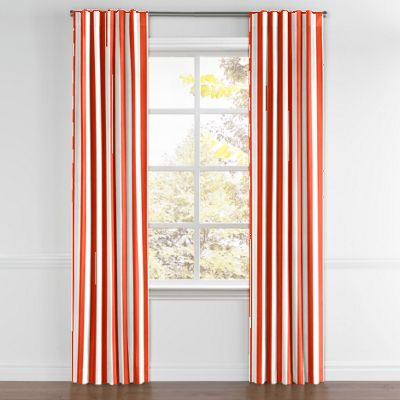 Red Awning Stripe Back Tab Curtains