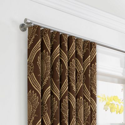 Brown Medallion Trellis Ripplefold Curtains