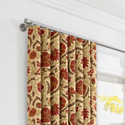 Beige & Red Suzani Ripplefold Curtains